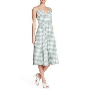 English Factory Ruffle Trim Gingham Midi Dress